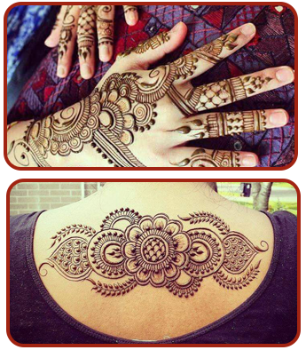 Henna on Hands and Back